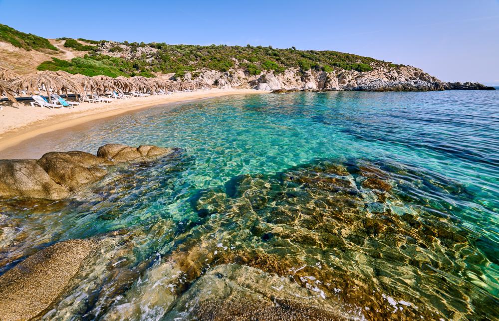 Beautiful beach and rocky coastline landscape, Sithonia, Greece