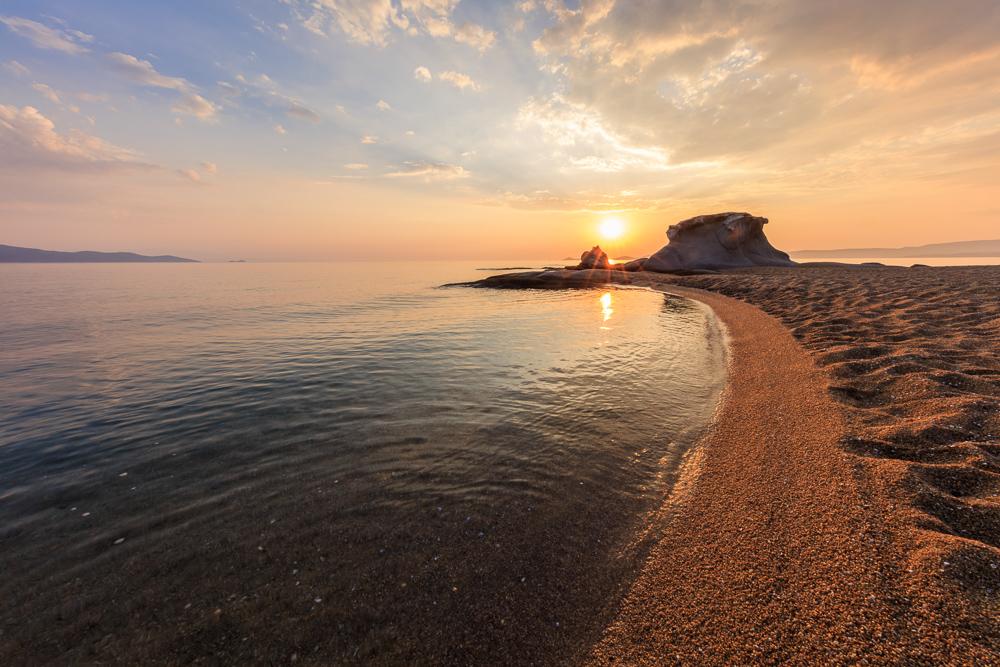 beautiful kakoudia beach at sunset. Ierissos Grecce